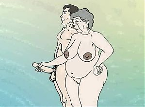 Fantasy lustful granny on the beach! Porn cartoon